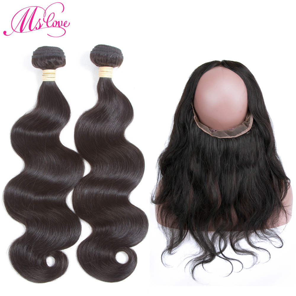 Human Hair Bundles With 360 Lace Frontal Closure Malaysian Body Wave Mslove Hair Non Remy Human Hair Extensions Natural Color