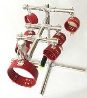 K9 torture devices stainless steel spreader bar bdsm bondage frame hand ankle cuffs neck collar handcuffs slave fetish sex toys