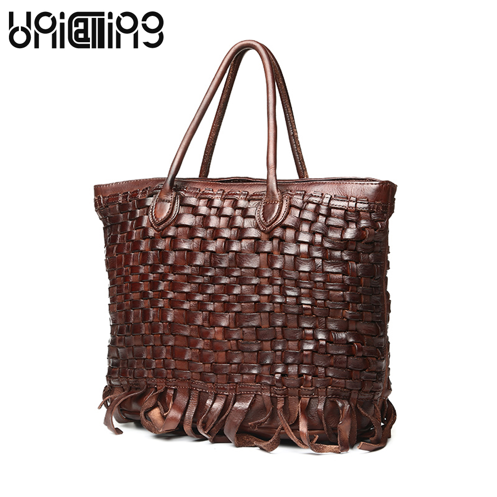 Здесь продается  New style Genuine Leather women bag Fashion Brand Ladies Handbags Vegetable tanned cow leather weave tassel Retro shoulder bags  Камера и Сумки