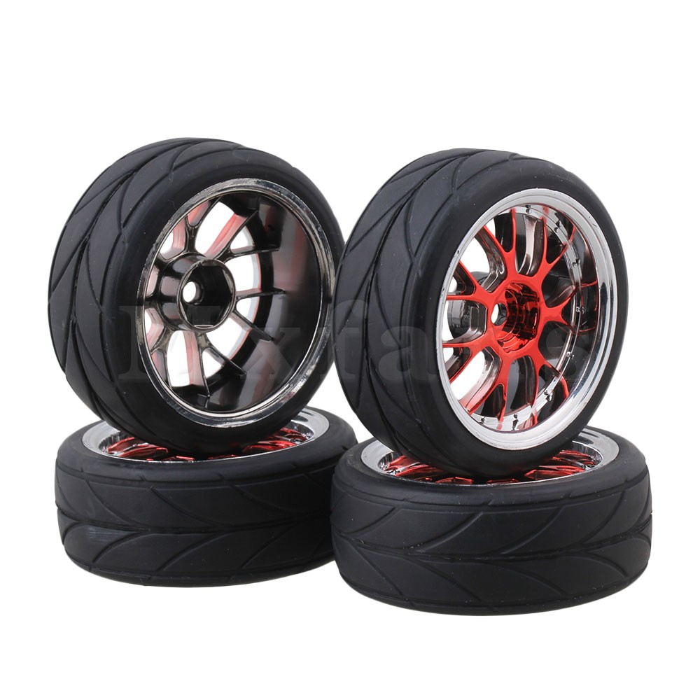 Mxfans Y shape Hub Wheel Rim Arrow Grain Tires for RC 1:10 On-road Racing Car Pack of 4 4pcs set 12mm hex rubber tires tyre wheel rim for hsp rc 1 10 flat racing on road car pp0150 6rg toys vehicles accessories