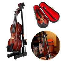 Nouveau Mini violon guitare Version améliorée avec Support Miniature en bois Instruments de musique Collection ornements décoratifs modèle