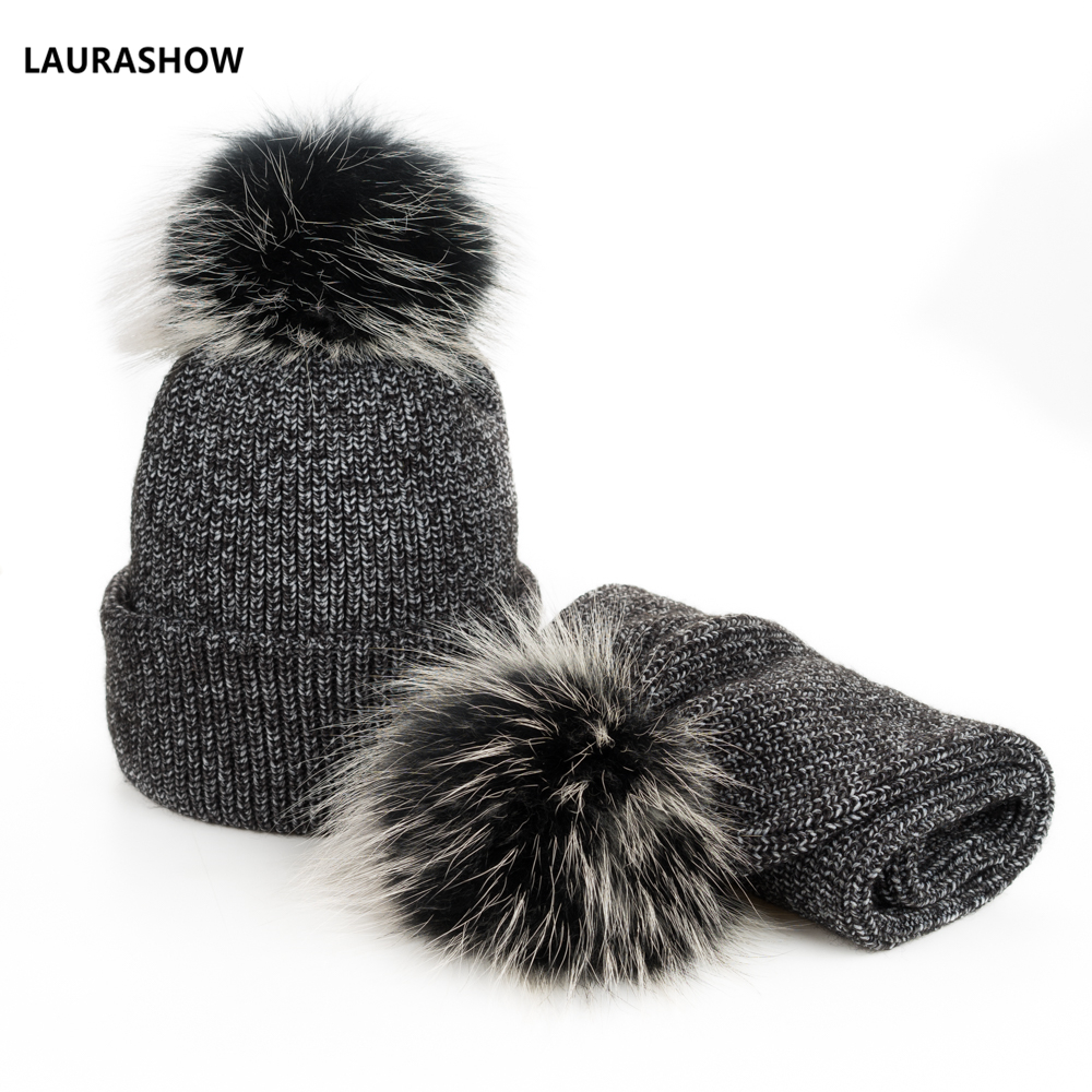 0a559c682 New 2 IN 1 Children Winter Hat Scarf for Girls Hat Real Raccoon Fur Pom Pom  Beanies Woman Cap Knitted Winter Hat Wholesale