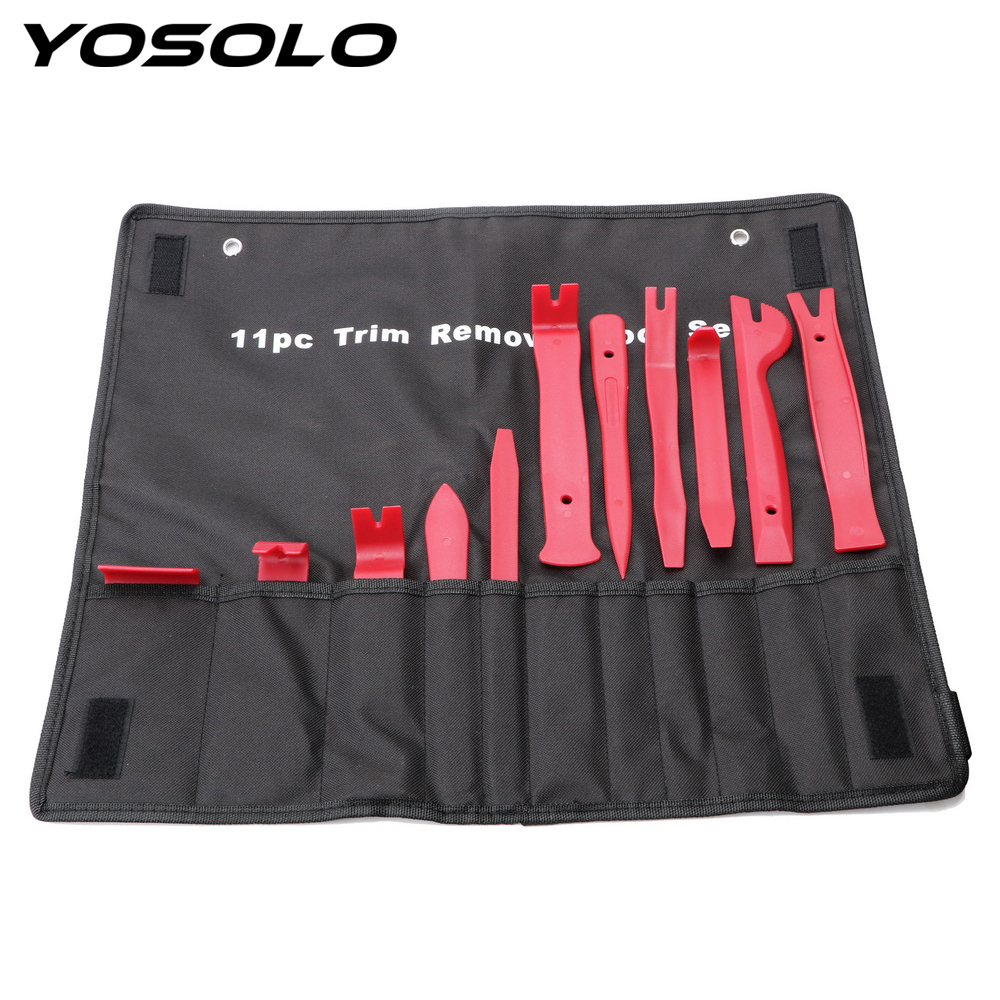 YOSOLO 11pcs/set Trim Removal Tool Set Nylon Storage Bag Auto Upholstery Tools Door Molding Dash Panel Trim Tool Kit