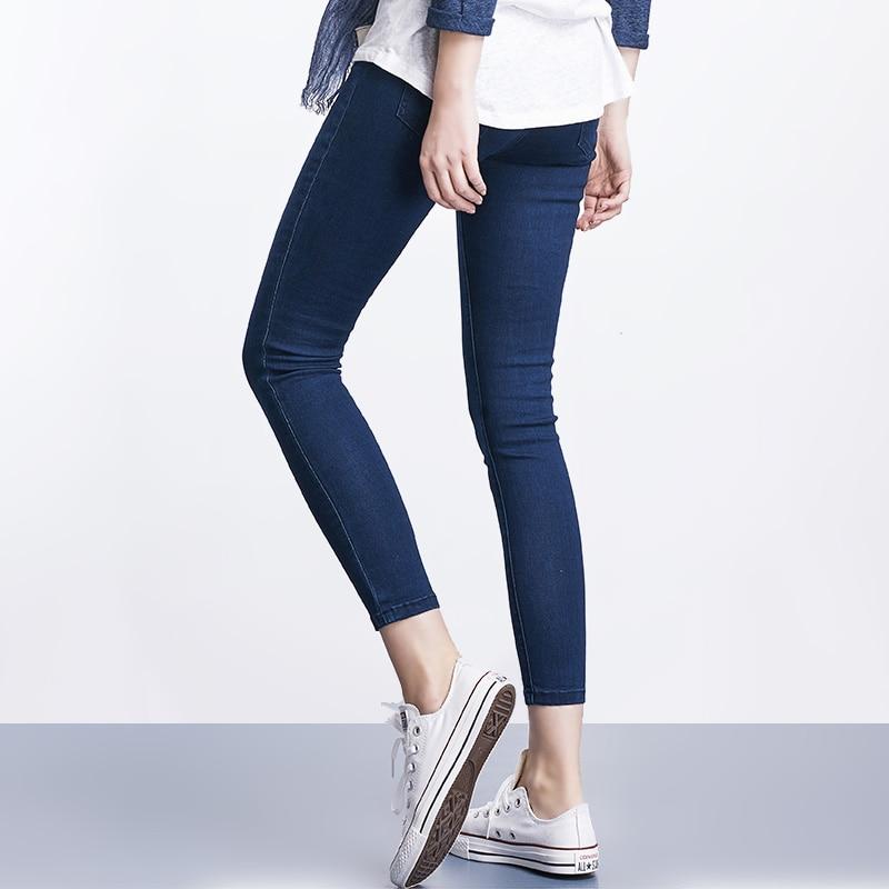 Women Plus Size Casual Slim Stretch Cotton Denim Jeans Blue black 7