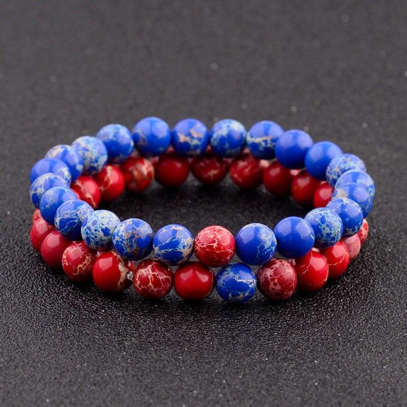 Amader Trendy Couple Bracelets For Lovers Blue&Red Imperial Charm Stone Beads Bracelets For Women Men Yoga Jewellery Gift AB241 men beaded bracelet red