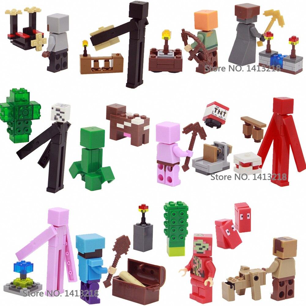 12 pcs Mon Monde Steve Alex Enderman Zombie Pigman Minecrafted Mini Building Blocks Figures Briques Jouets pour Garçons Cadeaux Enfants