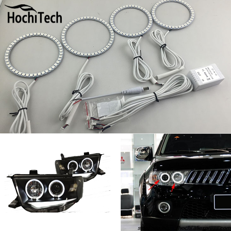 for Mitsubishi Challenger Montero Sport 2008 - 2016 RGB LED headlight rings halo angel demon eyes with remote controller лодка intex challenger k1 68305
