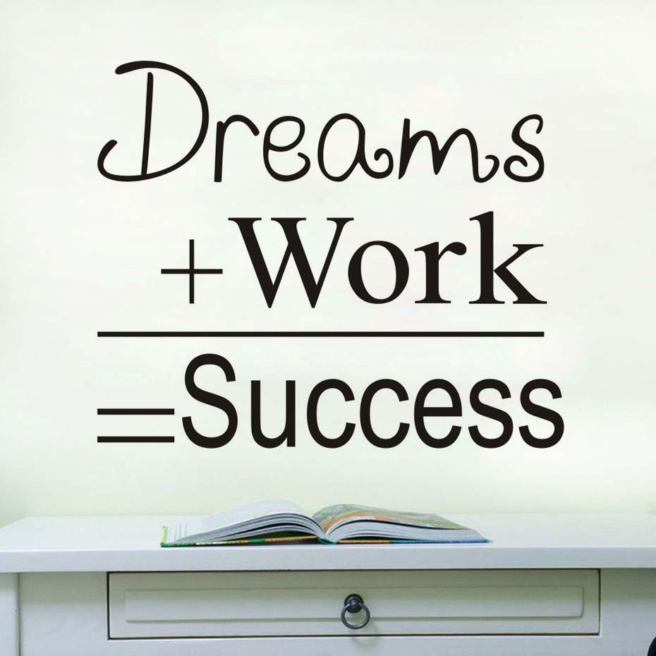 Dreams Work Success Motivational Quote Wall Sticker