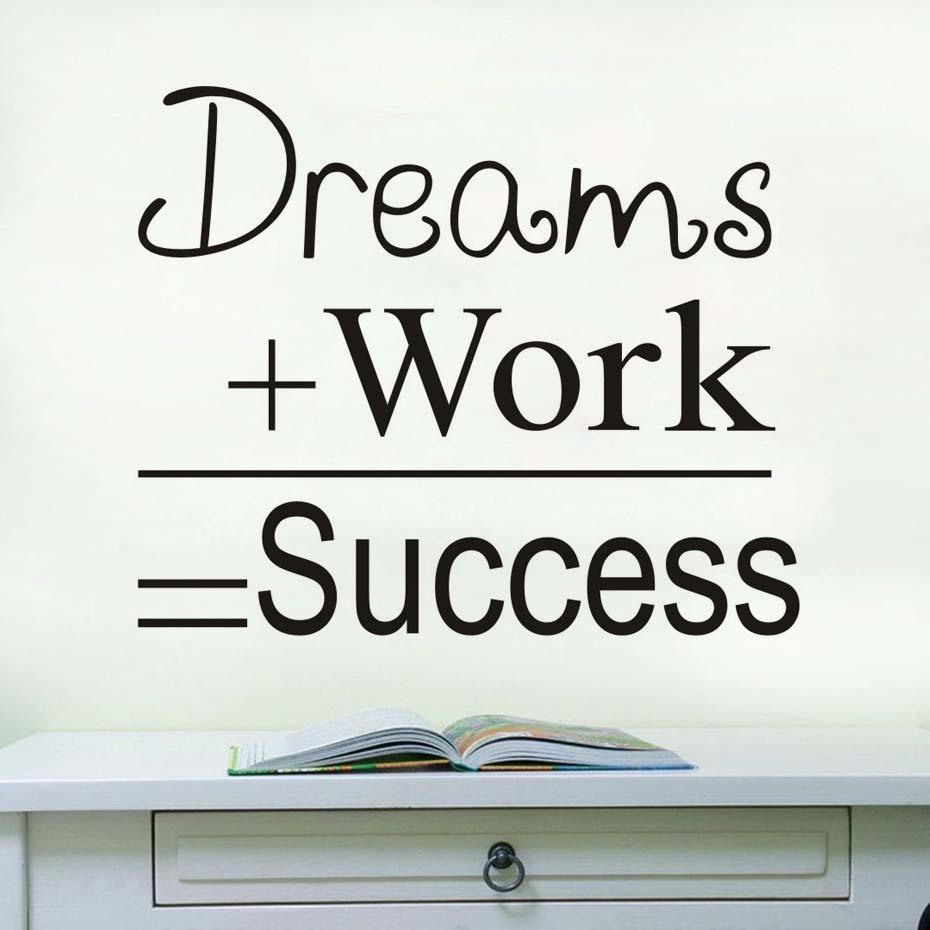Us 10 34 Träume Arbeit Erfolg Motivations Zitat Wand Aufkleber Vintage Poster Buchstaben Diy Wand Kunst Aufkleber Zimmer Office Home Dekoration In