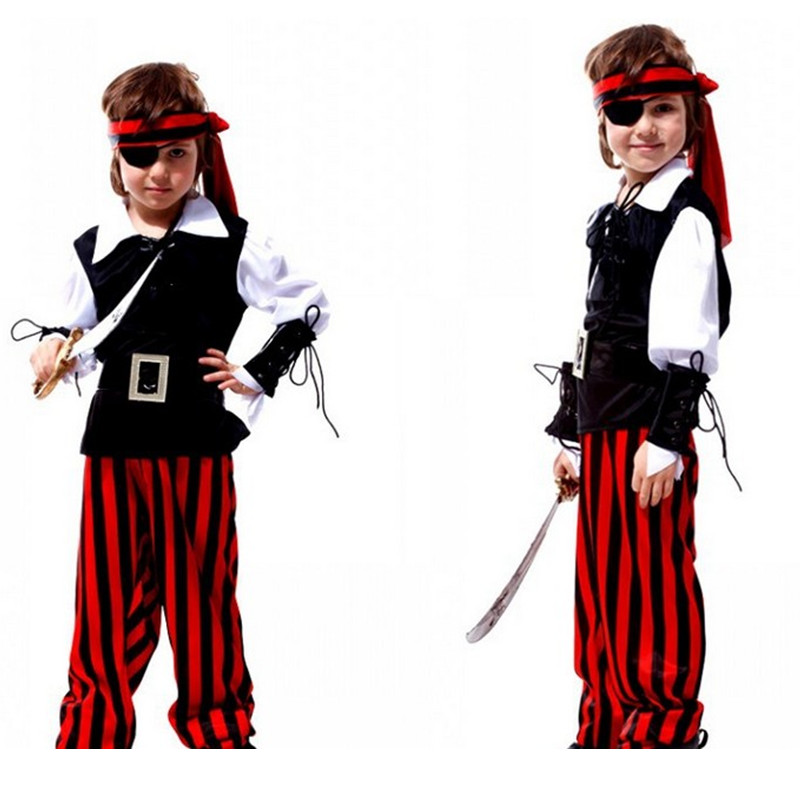 Boys Pirates of the Caribbean Cosplay Halloween Jack sparrow Costume for children Fantasia infantile Carnival in Brazil dress