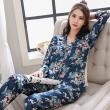 Spring and autumn pajamas twinset women summer ice silk middle-aged mother long sleeve silk nightgown ladies home loungewear цена