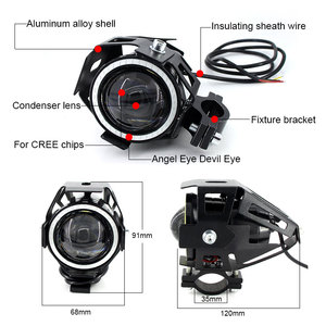 Image 3 - 2PCS 125W Motorcycle Headlight w/ Angel Eye Devil Eye 3000LM moto spotlight U7 LED Driving Fog Spot Head Light Decorative Lamp
