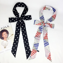 Black and White New Korean Version Thin Narrow Scarf Women Spring Summer Autumn Pure Color Ultra-long  Tie Fashion Versatile