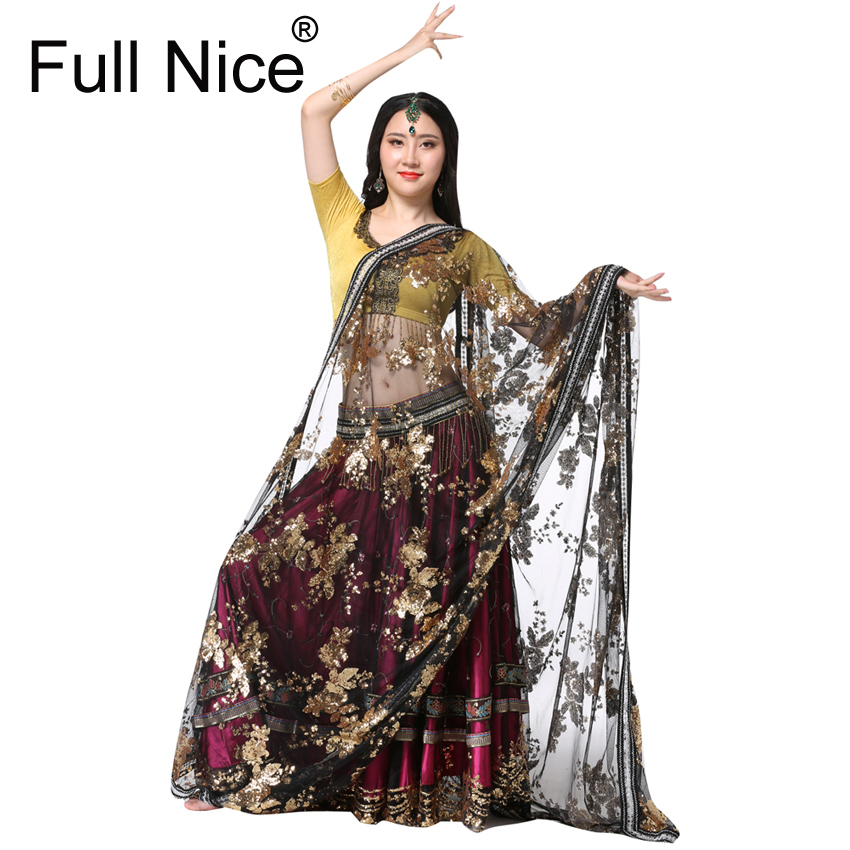 Vêtements Performance Ventre De Danse Tenues De Danse Indienne Main-brodé Bollywood Costume 4 pcs Ensemble (Haut + Ceinture + jupe + Sari)