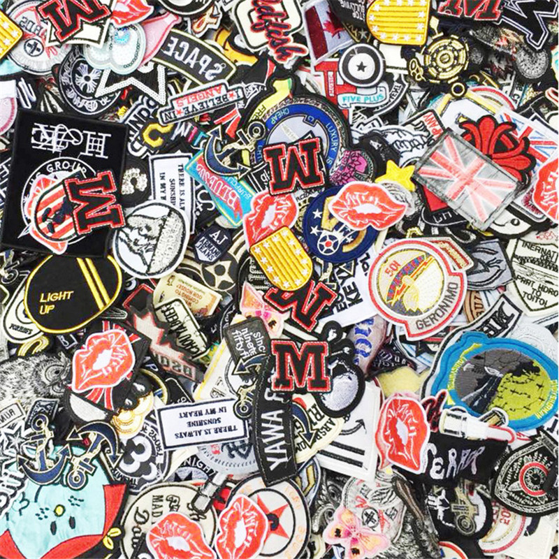 US $4.89 45% OFF|Random Mix Iron On and Sew On Patches Fabric Embroidery Patches for Clothing DIY  Clothes Stickers Appliques 100pcs/bag|Patches| |  - AliExpress