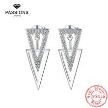 Женские серьги гвоздики из серебра 925 пробы с цирконом