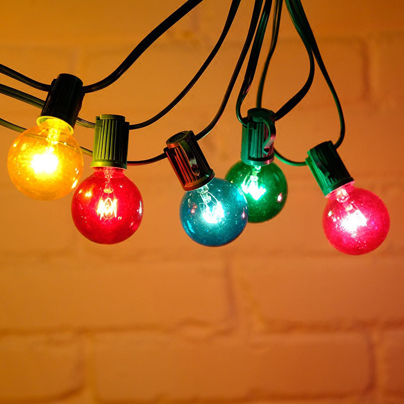 G40 Green Line Glass Bulb String Lights Tungste Bulb Colorful Globe String Lamp Outdoor Christmas Decoration Fairy Light Party