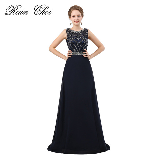 0967cfbc3fd Black Elegant Evening Dresses 2018 High End A line Beaded Evening Formal  Gowns Expensive
