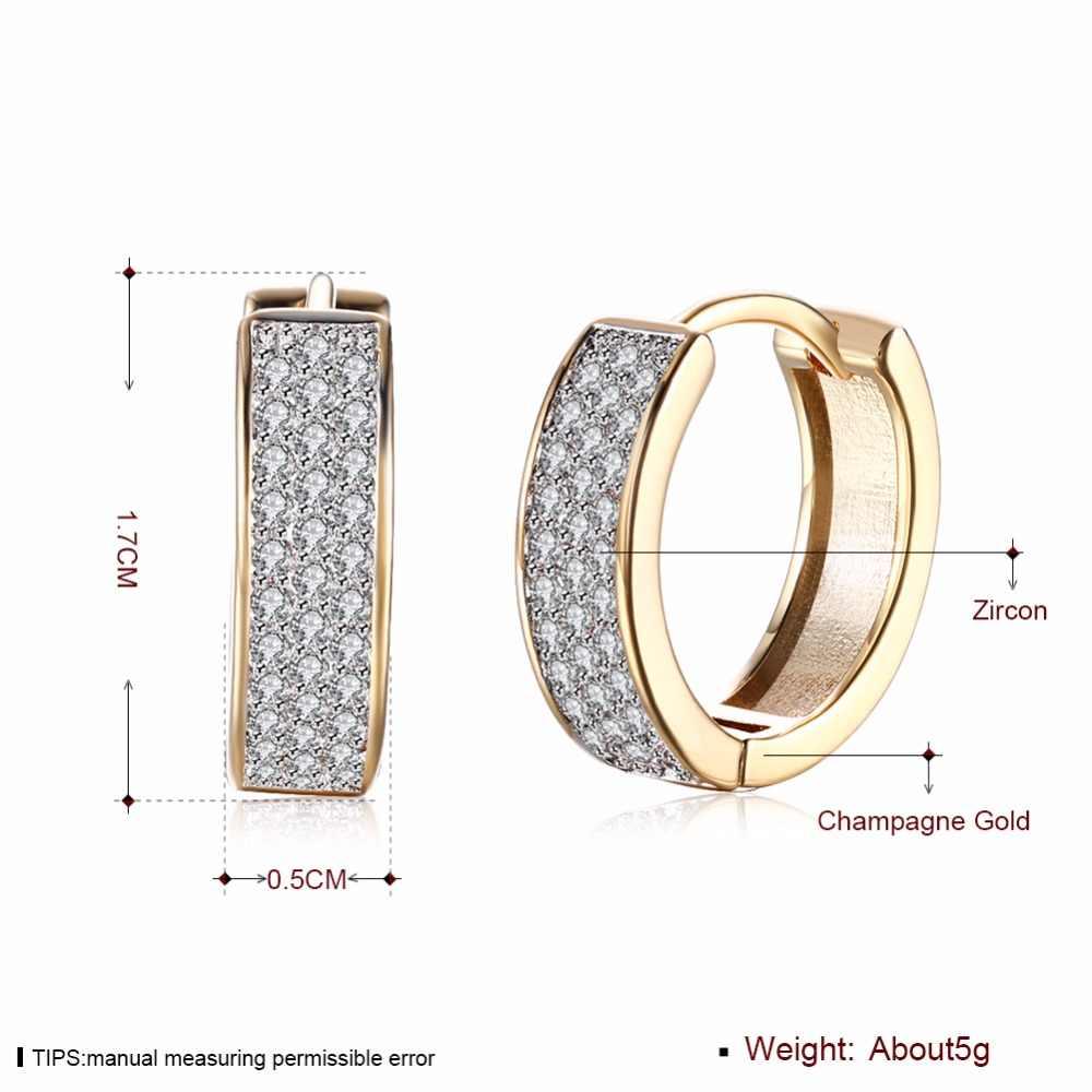 MEEKCAT ที่มีคุณภาพสูงใหม่ 2017 Gold - สีขาวคริสตัล Zircon Hoop ต่างหู Hollow Out เครื่องประดับงานแต่งงาน