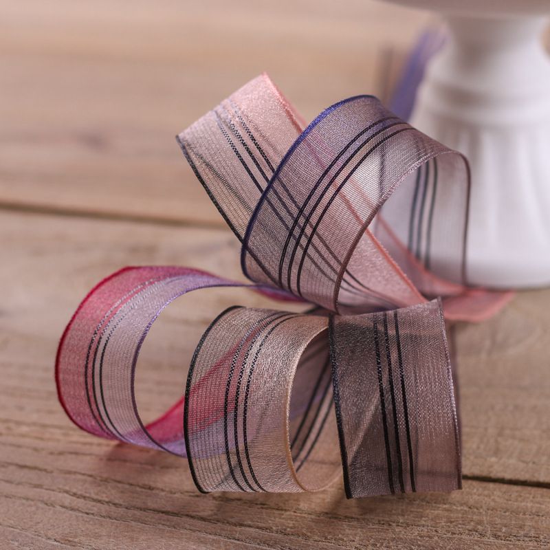 100yards 25mm 40mm stripes organza sheer ribbon for  bouquet packing bow flower gift decoration handcraft supplies