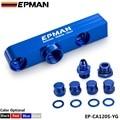 Autofab - EPMAN Billet montagem de alumínio gêmeo duplo duplo 044 de combustível bomba de tomada manifold azul EP-CA120S-YG