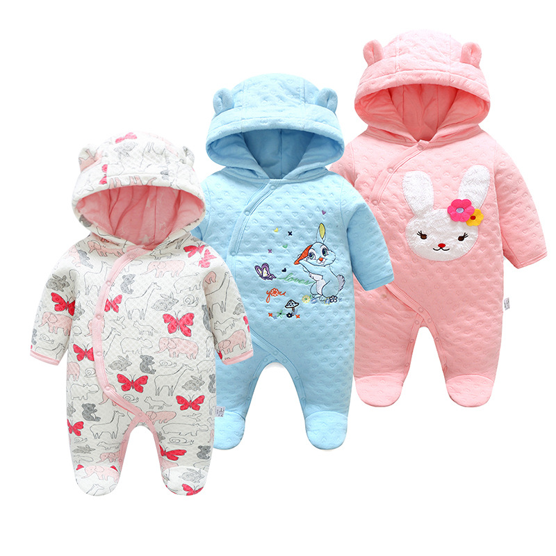 New Winter Baby Clothes Cotton Cute Thickened Romper Cartoon Outdoor Baby Girl Clothes Newborn Winter Clothes Baby Boys Romper retail 2015 winter new cute baby girl clothes black swan romper tutu dress kids cartoon clothes sets newborn outfit suits 4pcs
