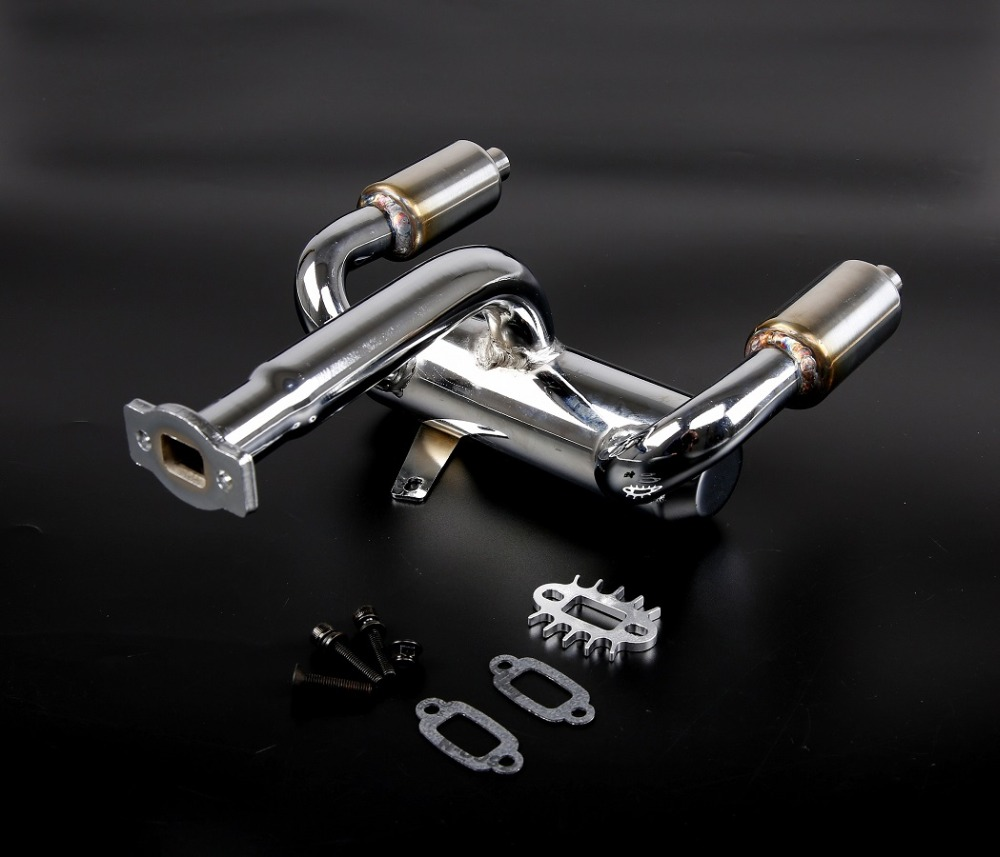 New arrival!!BAJA double row with a silencing exhaust pipe for 1/5th RC Gas Model Car/for BAJA ,DDM dual exhaust pipe цена