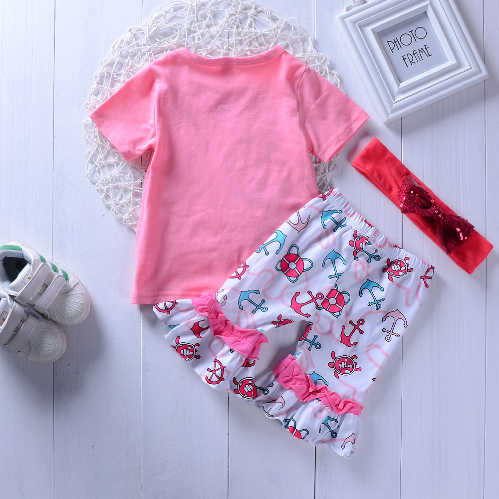 Kids girls clothes set Children Toddle girl Tops T-shrit + Shorts Summer casual suit for girls 2pcs sets 1-4Years