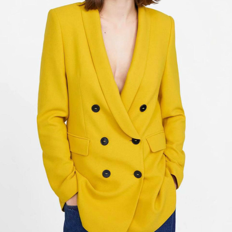 Women's Jacket 2019 Autumn New Temperament Double-breasted Yellow Long Section Suit Blazer Women Office Top