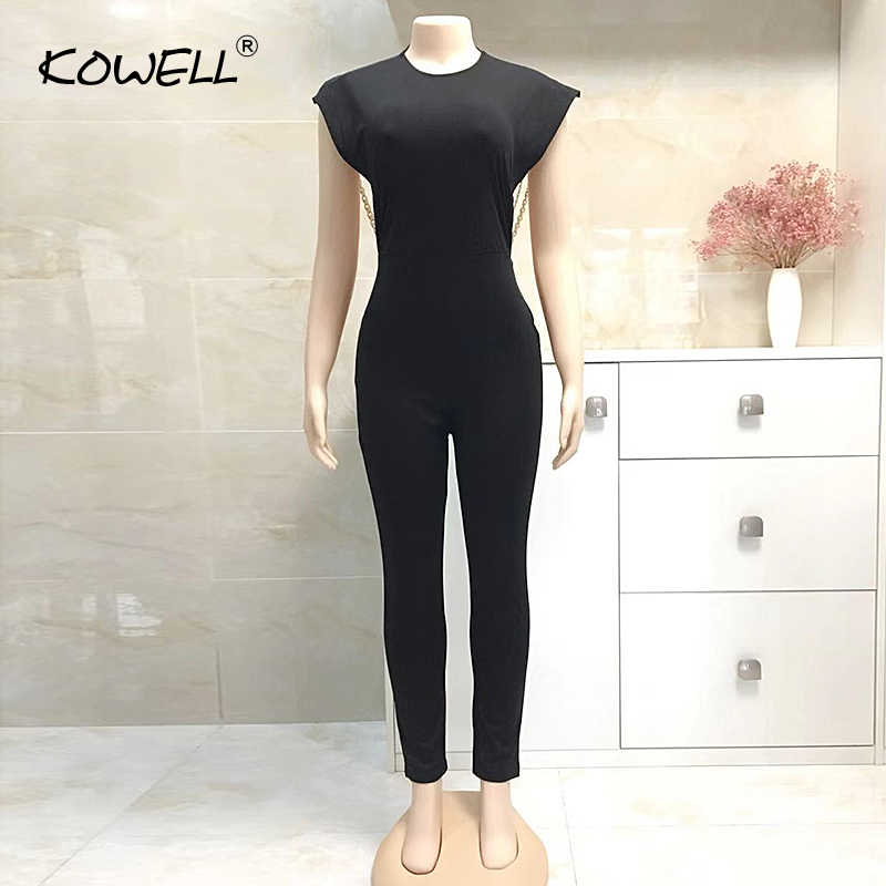 cb0d829bc9 ... Hot Sale Pearl Chain Sexy Backless Jumpsuit Women Sleeveless Skinny Bodycon  Rompers Women Party Overalls Casual ...