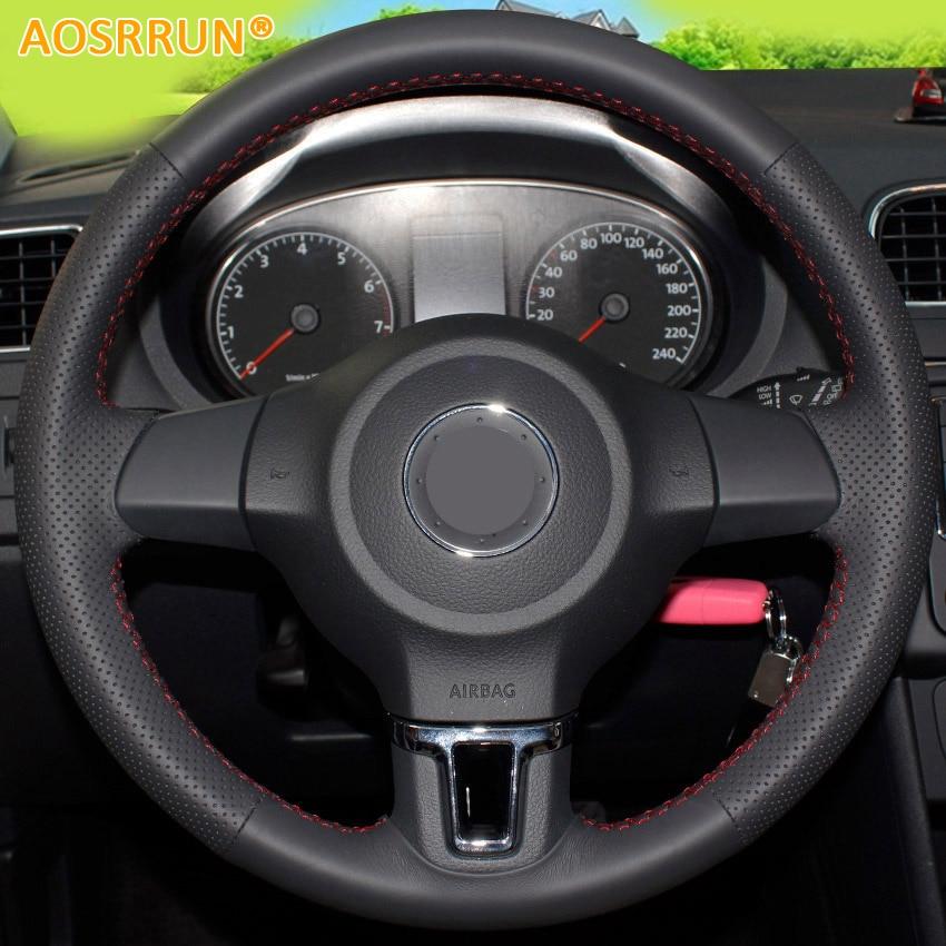 AOSRRUN accessori per Auto In Pelle cucita A mano Volante Copre Per Volkswagen Golf 6 Mk6 VW Polo MK5 2010-2013