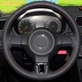 AOSRRUN Auto zubehör Leder Hand-genäht Auto Lenkrad Abdeckungen Für Volkswagen VW Golf 6 Mk6 VW Polo MK5 2010-2013