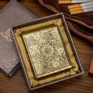 Image 4 - Fugui Peony Flower 20 Embossed Copper Cigarette Box Mens Ultra thin Creative Individual Retro Cigarette Clip