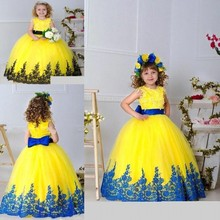2016 New Pageant Dresses For Little Girls Ball Gown Dresses Lace Applique Kids Prom Gowns Flower Girl Dresses 16072111
