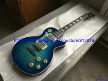 New Arrival electric guitar,LP standard,thick blue burst,thin blue center,chrome parts,ebony fingerboard,free Shipping