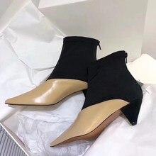 Г., осенне-зимние растягивающиеся ботильоны на молнии сзади Дамская обувь на необычном каблуке с острым носком, подходящая по цвету модная женская обувь