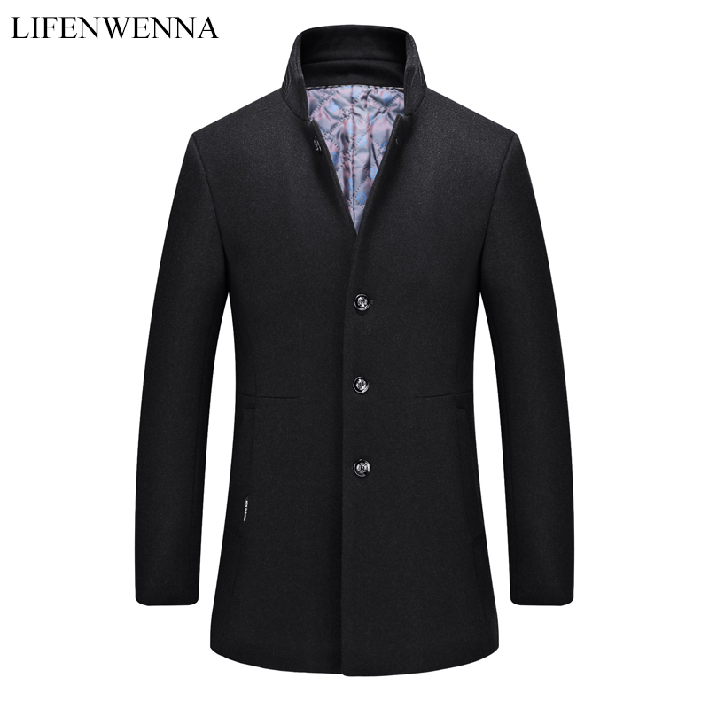 2019 New Fashion Black Gray Wool Coat Men Slim Fit Wool Peacoat Autumn Winter Warm Mandarin Collar Jackets Wool Blends Overcoat(China)