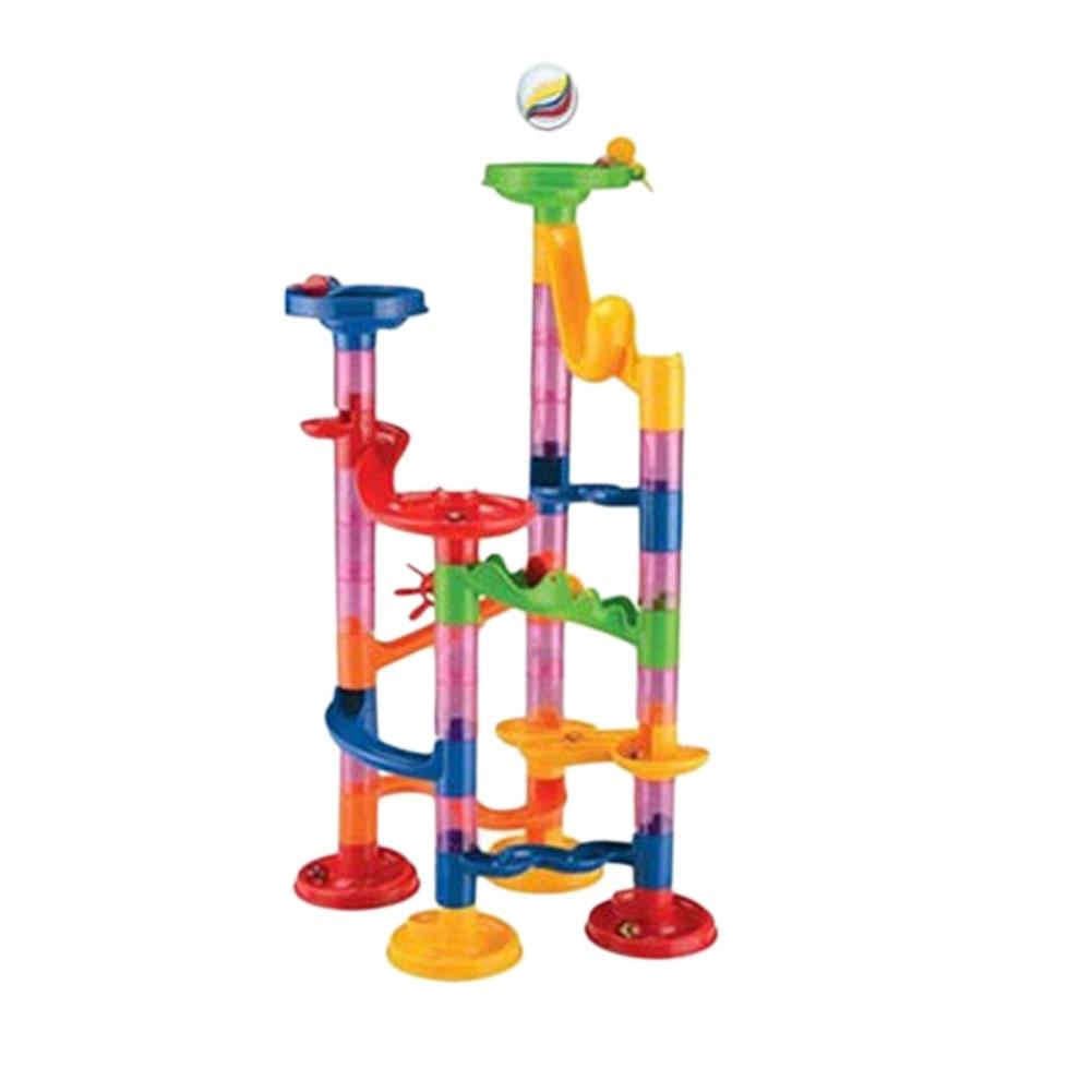 DIY Construction Marble Race Run Maze Balls Track plastic house Building Blocks toys for christmas