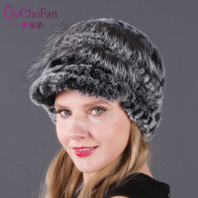 New Real Fur Cap Lady Winter Natural Rex Rabbit Hat Women Warm Beanies 100% Genuine Wholesale Retail