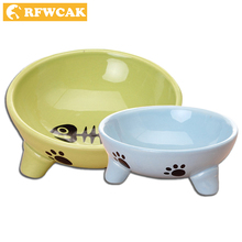 RFWCAK Dog Bowl Ceramics Pocket-portable Travel Feeding Tableware Water Bowl For Pet Dog Cat Puppy Food Bowl Water Dish