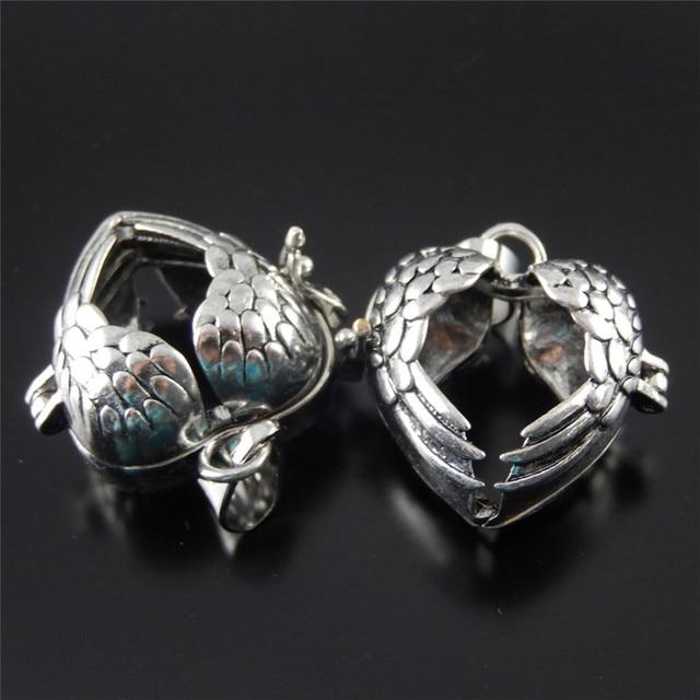 2PCS Antique Silver Alloy Heart Shape Hollow Wings Locket Wish Box