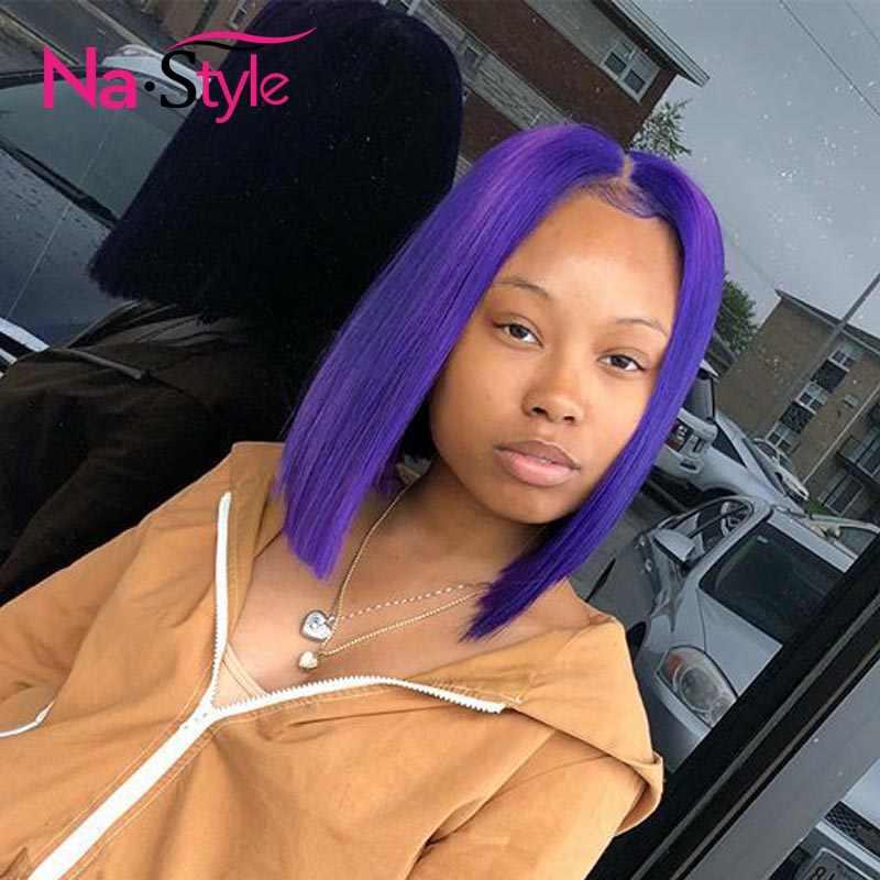 Фиолетовый парик с тупым вырезом Боб прозрачный парик с кружевом цветные человеческие волосы парики 613 светлые человеческие волосы короткие парики для женщин