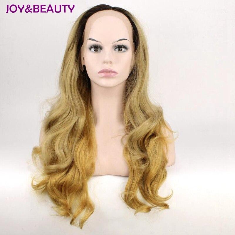 JOY&BEAUTY 24 Long Wavy Dark Root Ombre Blonde Two Tone Synthetic Lace Front Wig Heat Resistant Fiber Women Hair Wigs