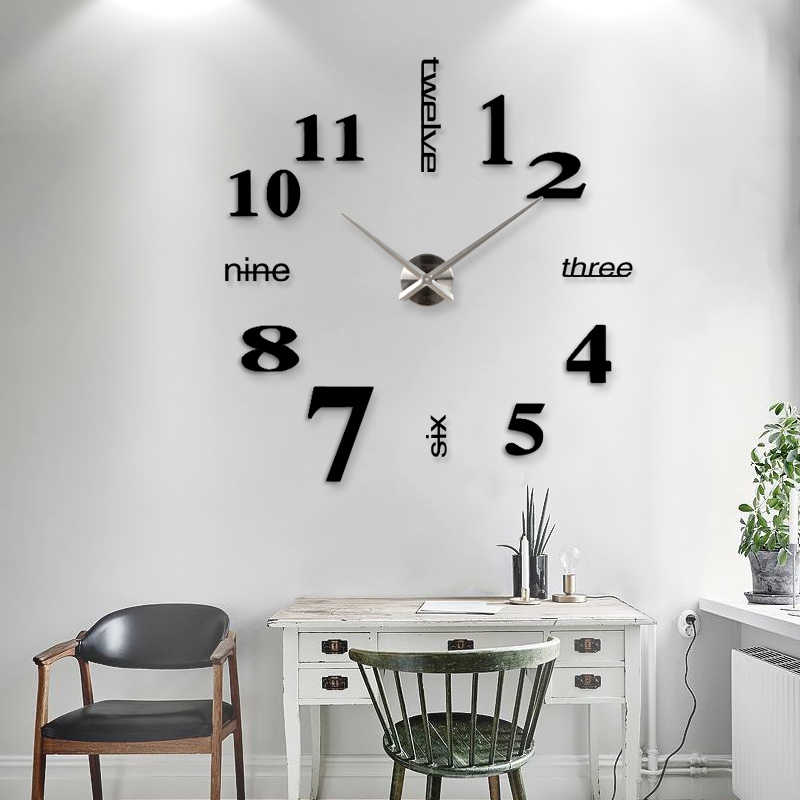 New Home decoration big 27/37/47inch mirror wall clock modern design 3D DIY large decorative wall clock watch wall unique gift