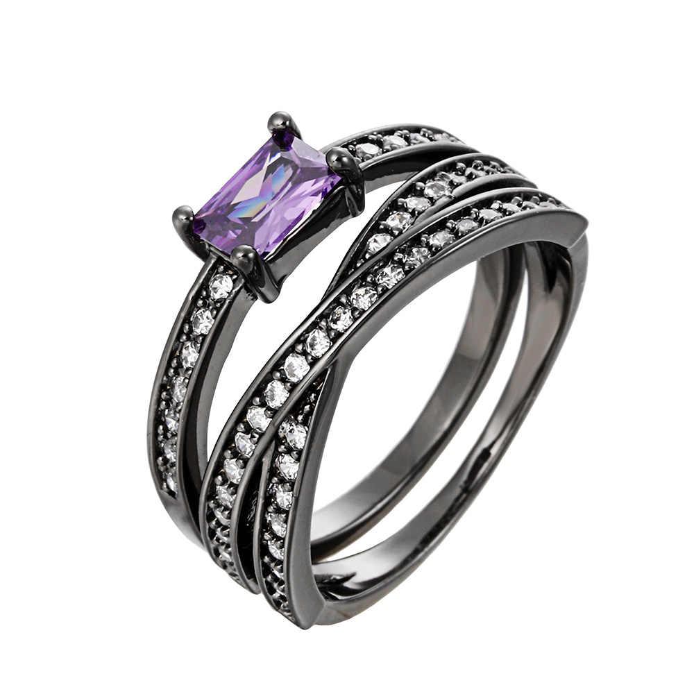 เงินสีดำปืน 2 ชิ้น/เซ็ตแหวน Cubic Zirconia แหวนคู่ชุด Bijoux ผู้หญิง Lover งานแต่งงานอุปกรณ์เสริม