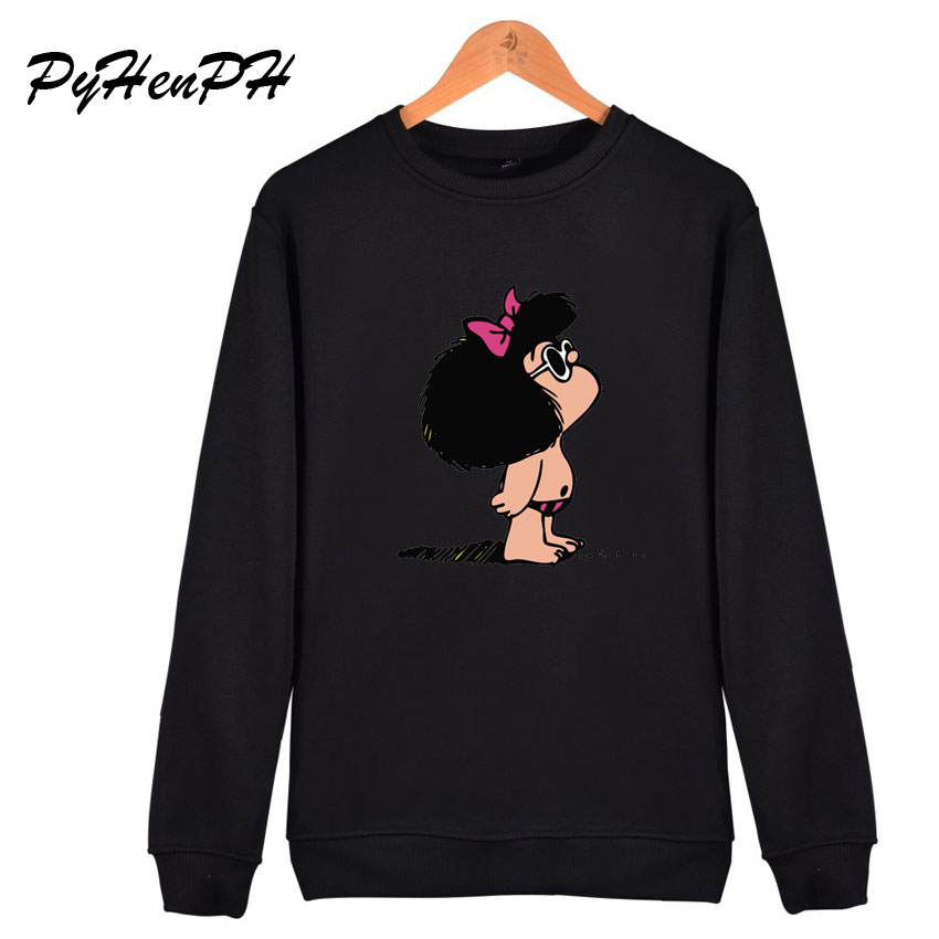 Hoodies Women Cartoon Toda Mafalda Print Oversized Hoodie 2019 New Winter Pullover Sweatshirt Casual Women's Hooded Tops