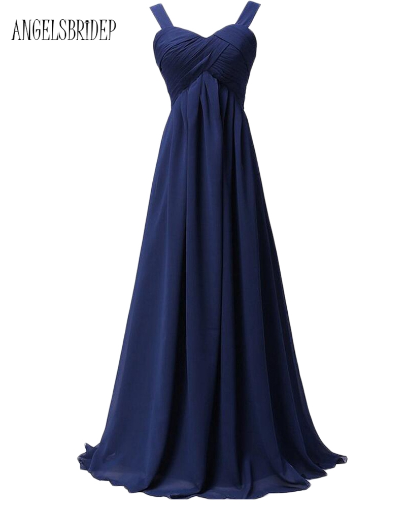 ANGELSBRIDEP Long New Bridesmaid Dresses Under 50 Long Chiffon Spaghetti Straps Special Occasion Party Formal Gowns