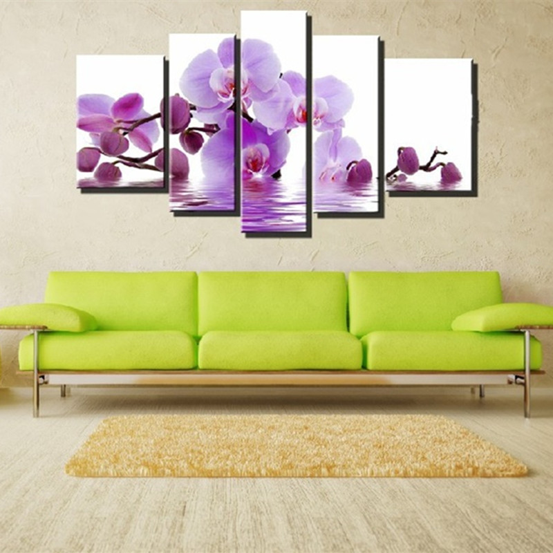 Purple Flower Oil Painting Abstract Wall Art Picture: Aliexpress.com : Buy Wall Art Purple Flowers Oil Painting