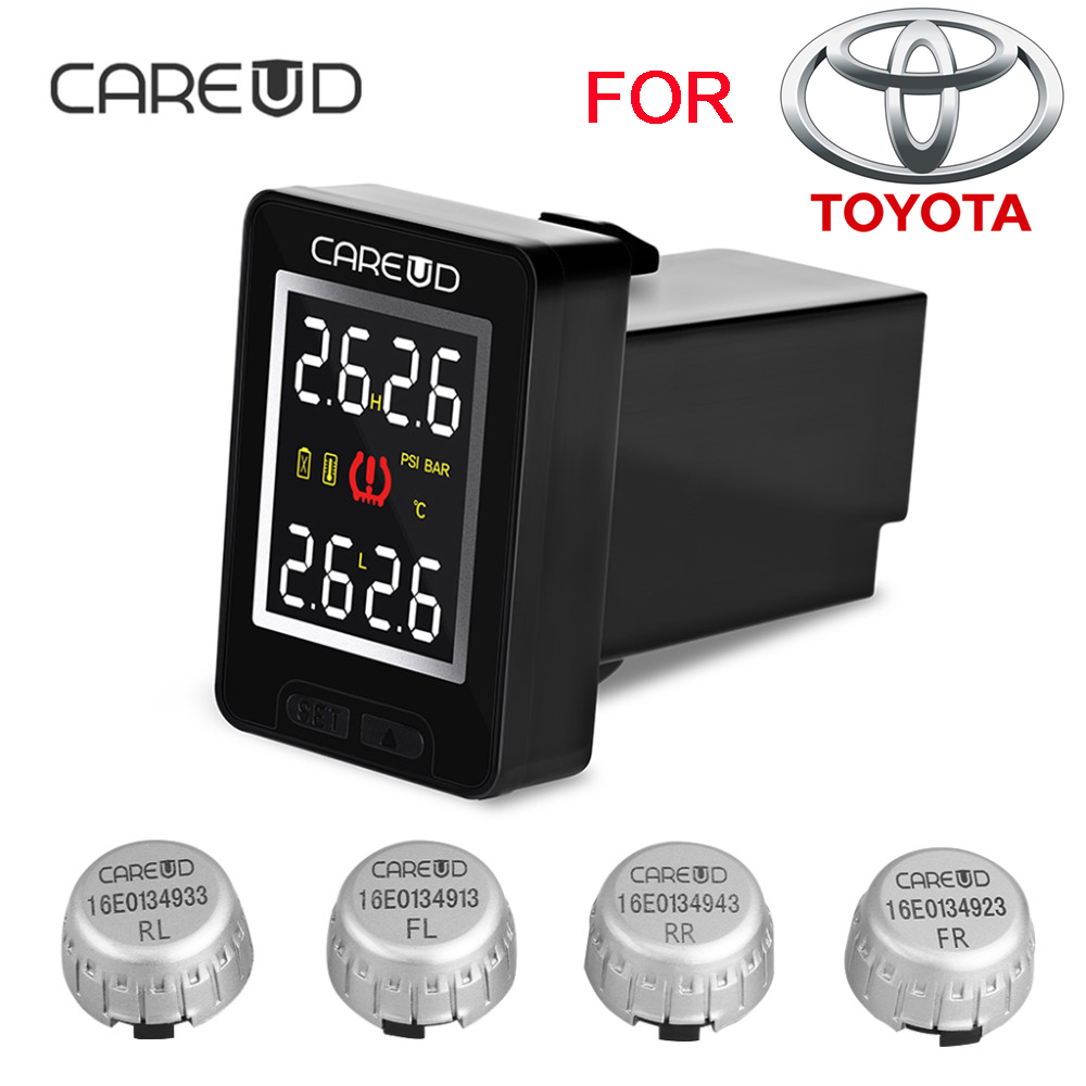CAREUD New U912 TPMS Car Tire Pressure 4 External Sensors Wireless Monitoring System and LCD Display Embedded Monitor for Toyota careud u912 tpms car tire pressure wireless monitoring system 4 external sensors and lcd display embedded monitor for toyota