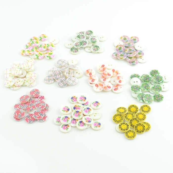 free shipping 50 PCS 15MM seashell buttons 10 designs floral printed flat back 2 holes natural clothing craft children button